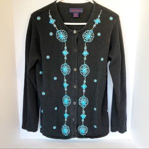 Black Denim & Co. Cardigan Turquoise Beaded S/M